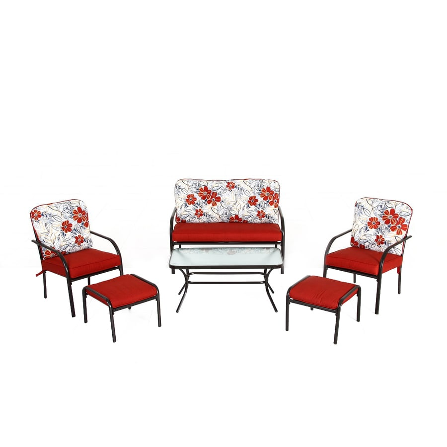 Garden Treasures 6-Piece Dunstan Patio Conversation Set with Floral Red Cushions