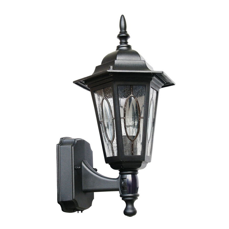 Portfolio Black Motion Activated Outdoor Wall Light With Patterned  Center Circle Glass