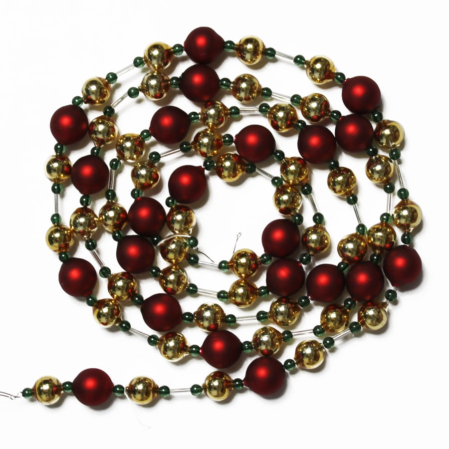 holiday living 6 red gold glass bead garland - Christmas Beaded Garland Decorations