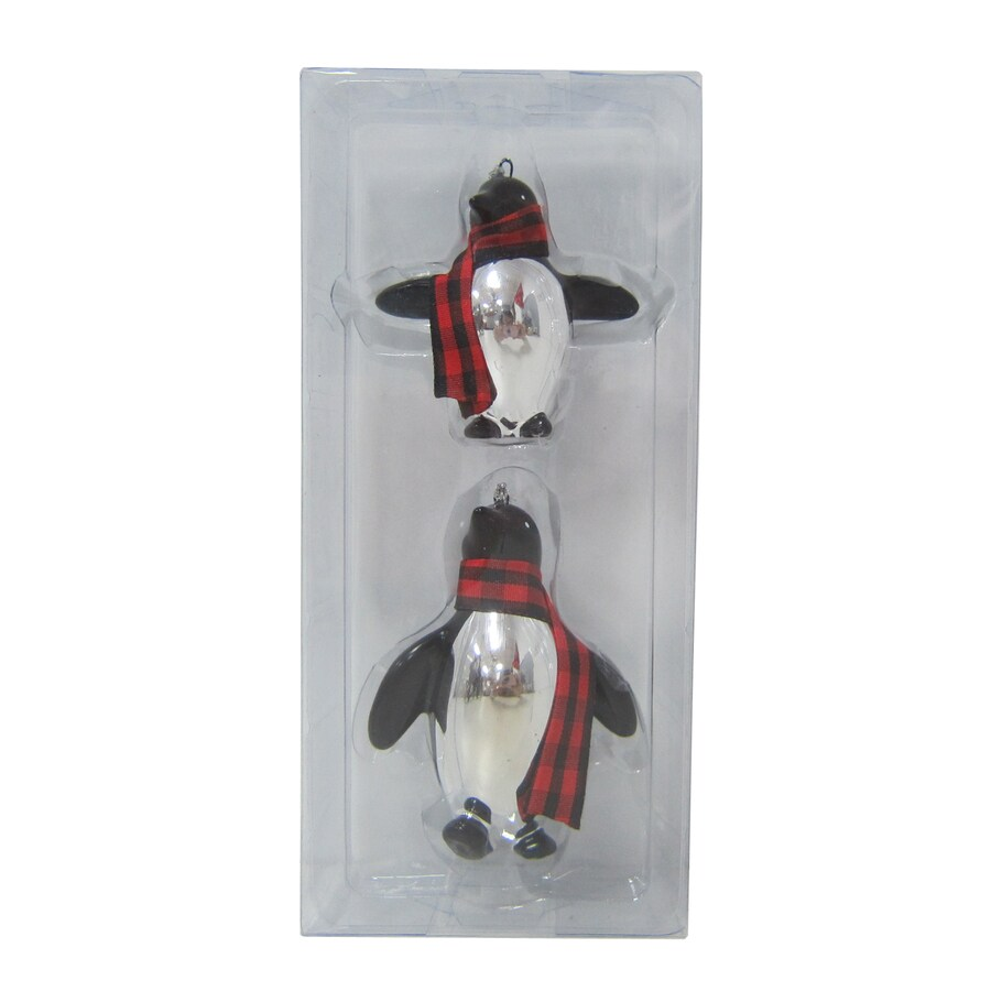 Holiday Living 2-Pack Silver Red and Black Ceramic  Penguin Ornaments