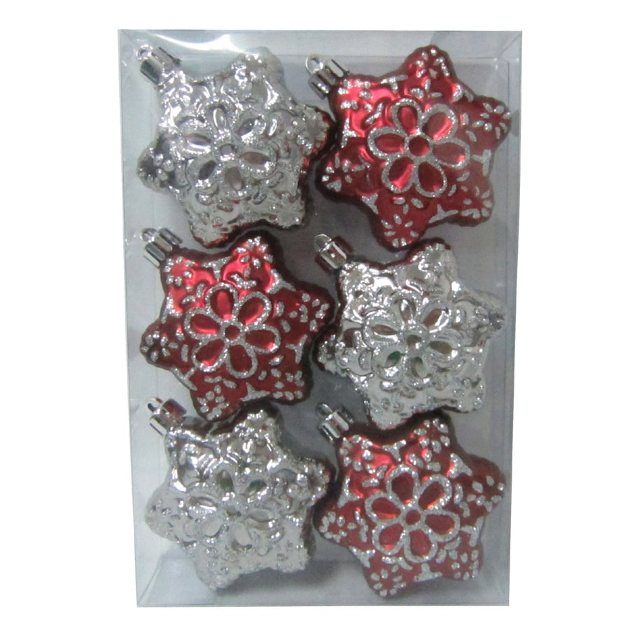 Holiday Living 6-Pack Burgundy and Silver Shatterproof Snowflake Ornaments
