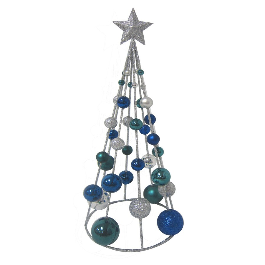 Holiday Living Plastic Tabletop 15-in Blue/Silver Ball Tree Indoor Christmas Decoration