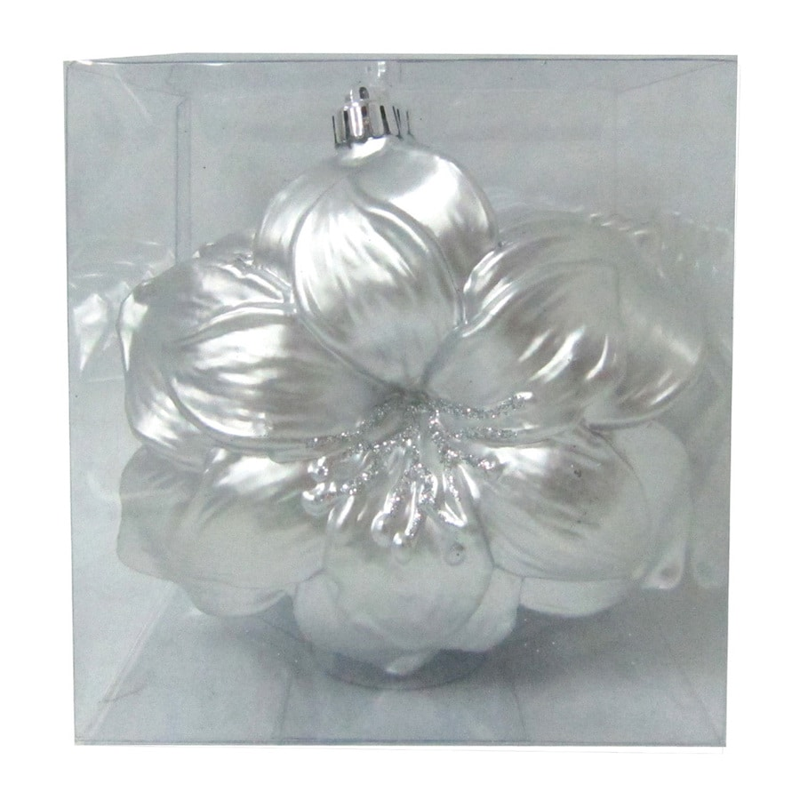 Holiday Living 4-Pack Matte Pearlized Silver Glitter Shatterproof Amaryllis Ornaments
