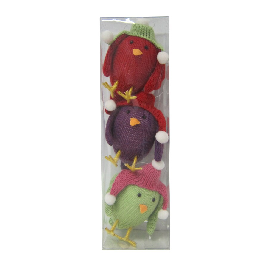 Holiday Living 3-Pack Multicolor Knit Shatterproof  Bird Ornaments