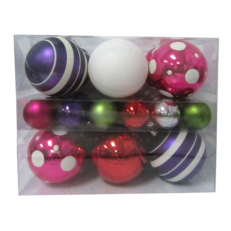 Holiday Living 36-Pack Shatterproof Multicolor Multipack Ornaments