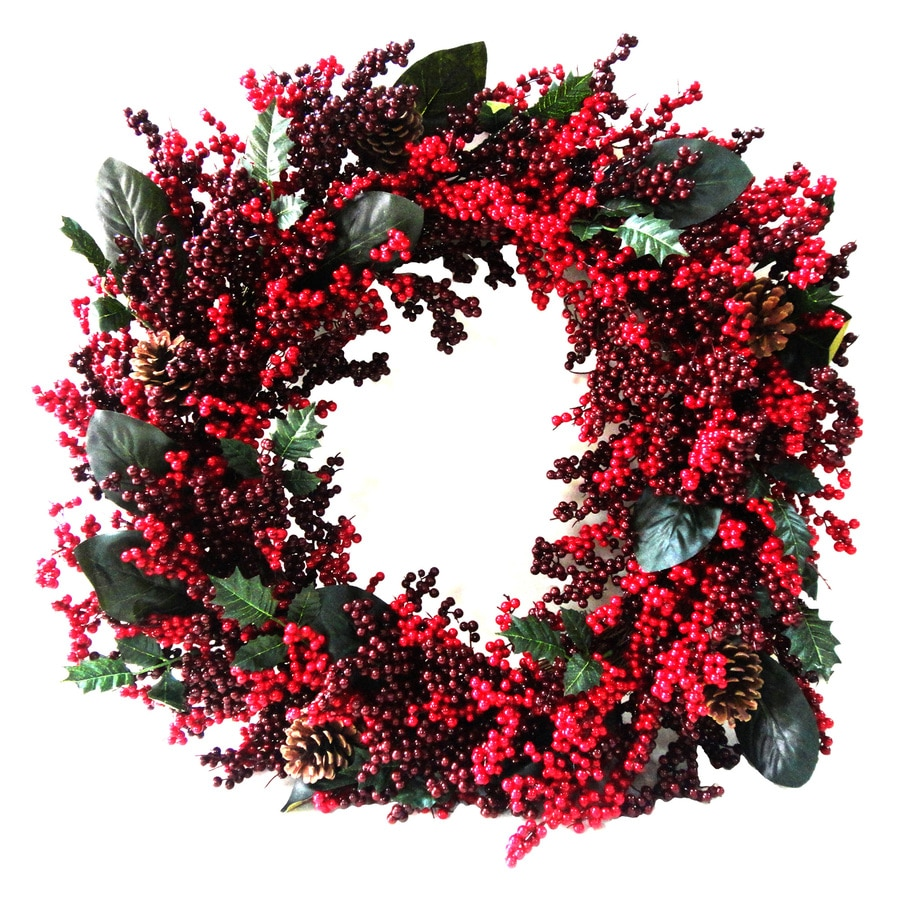 Shop Holiday Living 30-in Unlit Berry Artificial Christmas Wreath ...