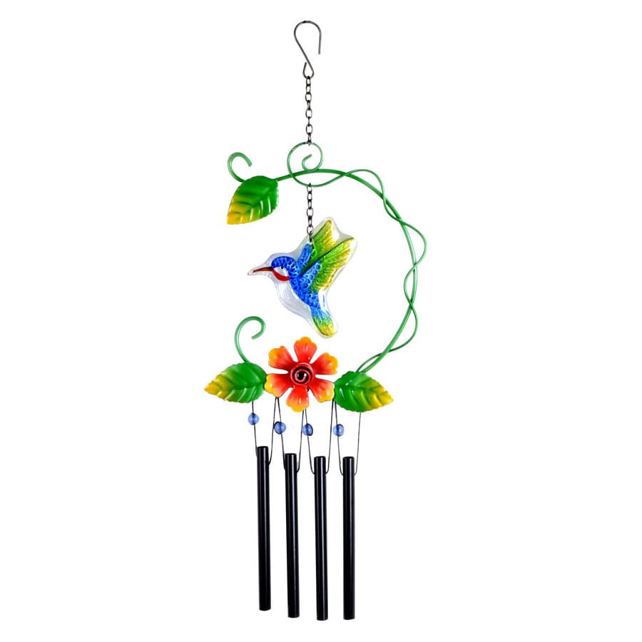 Garden Treasures 20-in Green, Red, Black Metal Wind Chime