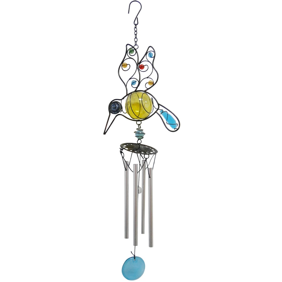 20-in Yellow Metal Hummingbird Wind Chime