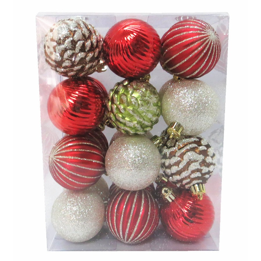 Holiday Living Red, Cream, Champagne, Green, Brown Ornament Set Lights