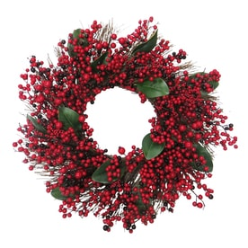 holiday living 30 in red green burgundy berry magnolia leaf - Lowes Christmas Wreaths