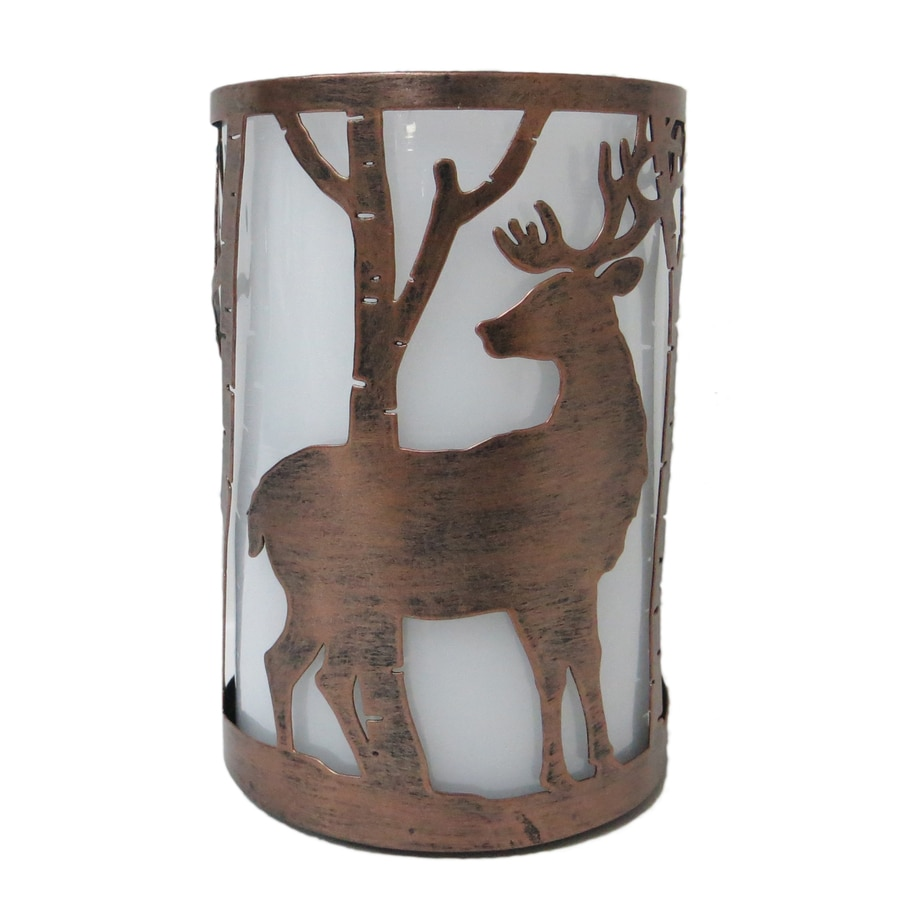 Holiday Living 6.25-in Battery-Operated LED Brown Electric Pillar Candle
