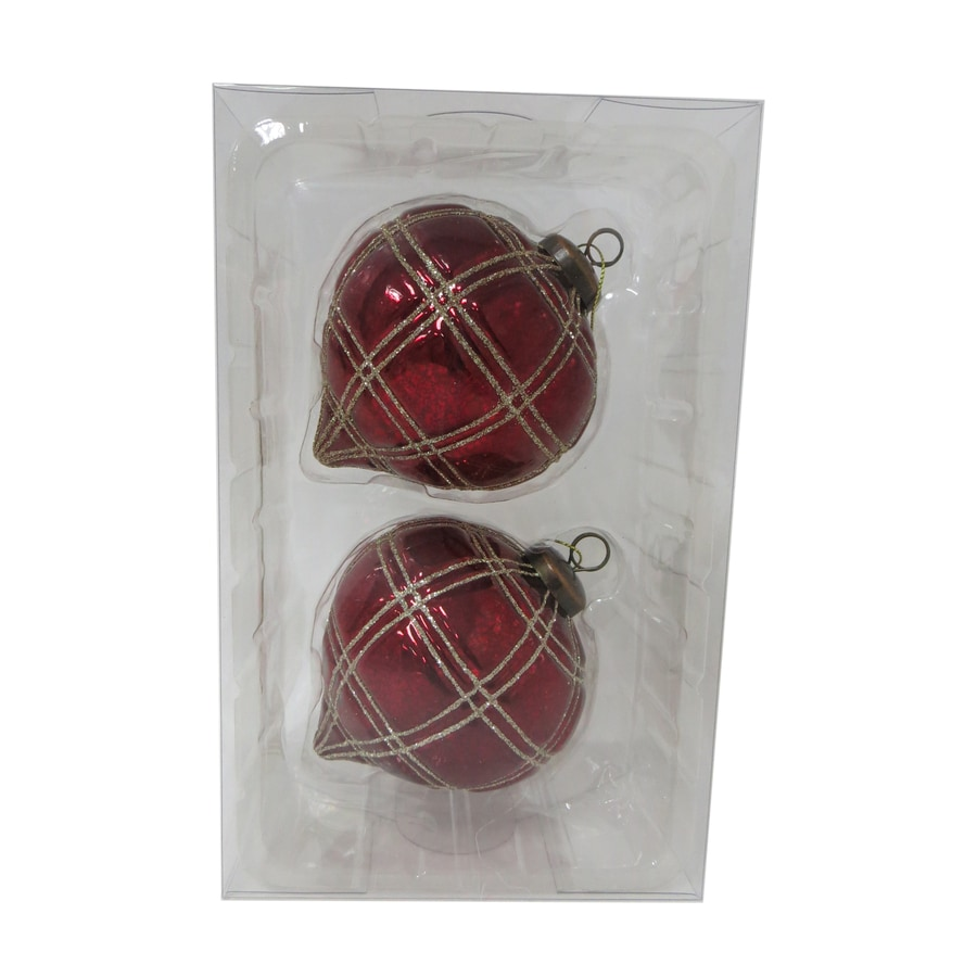 Holiday Living 2-Pack Red, Gold Ball Ornament Set