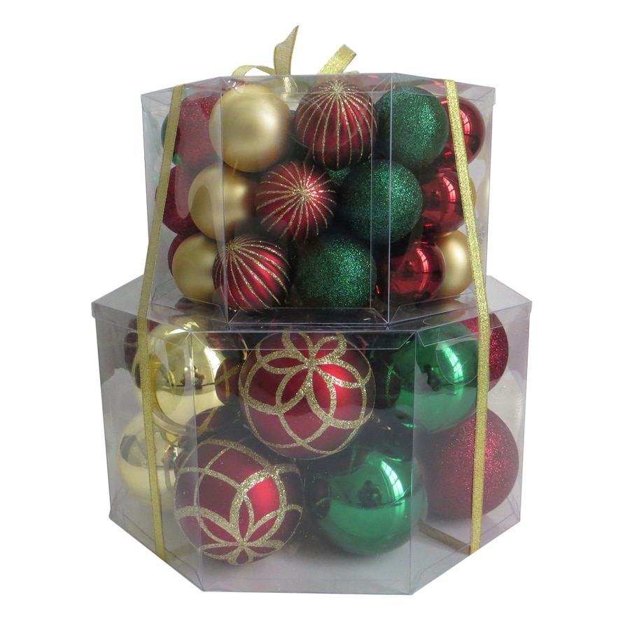 Holiday Living 66-Pack Red, Green, Gold Ball Ornament Set