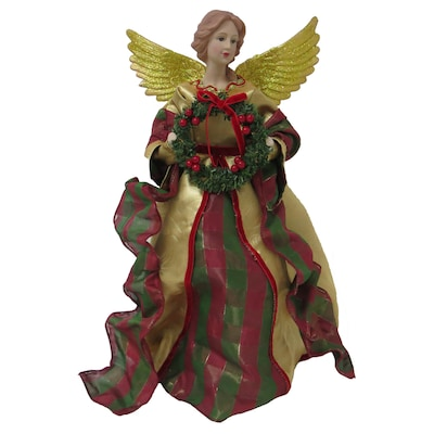 Angel Christmas Tree Topper.16 25 In Red Green Gold Fabric Angel Christmas Tree Topper