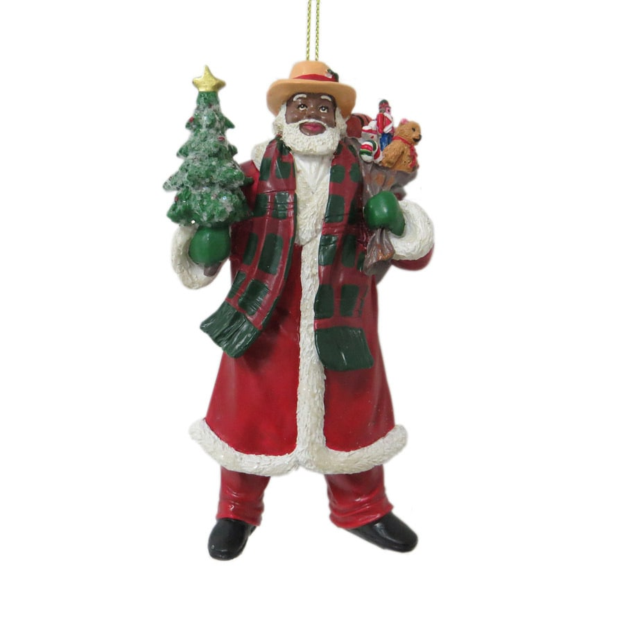 Holiday Living Red, Green, White, Brown Santa Ornament
