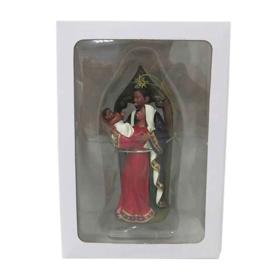 Holiday Living Red, Gold, White, Blue, Brown Nativity Ornament