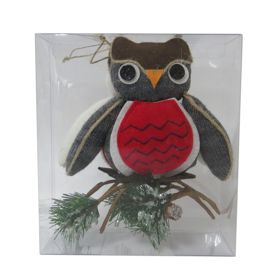 Holiday Living 2-Pack White, Gray, Red, Brown Owl Ornament Set