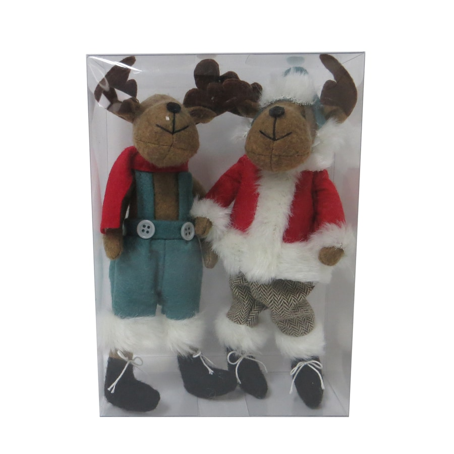 Holiday Living 2-Pack Red, Brown, Blue, Black, White Moose Ornament Set