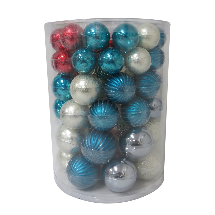 Holiday Living 60-Pack Red, Blue, Silver, Mint Green Ornament Set