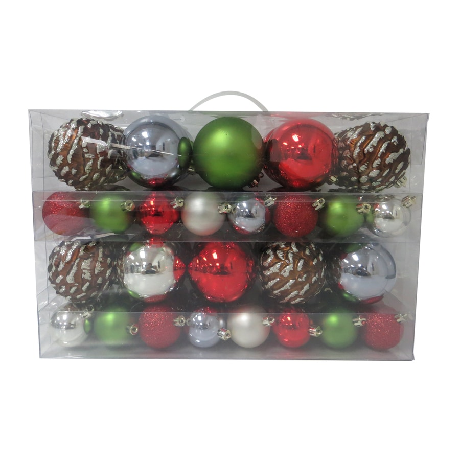 Holiday Living 68-Pack Red, Green, Silver, Brown, Champagne Gold Ornament Set