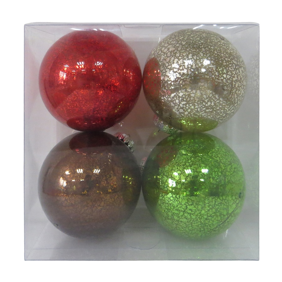 Holiday Living 4-Pack Red, Green, Brown, Champagne Ball Ornament Set