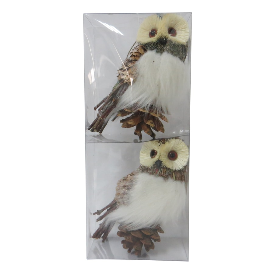 Holiday Living 2-Pack Cream, Brown, Gray, Green, Red, Blue Owl Ornament Set