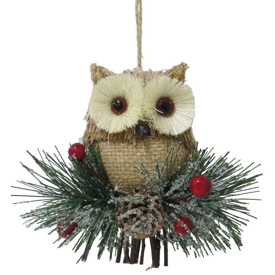 Holiday Living Brown, White, Green, Red Owl Ornament