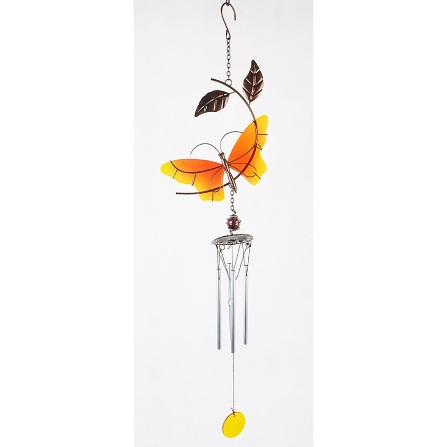 28-in Red/Yellow Metal Butterfly Wind Chime