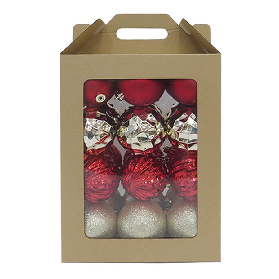 allen + roth 24-Pack Red, Gold, Champagne, Shiny, Matte, Glitter, Metallic Ball Ornament Set