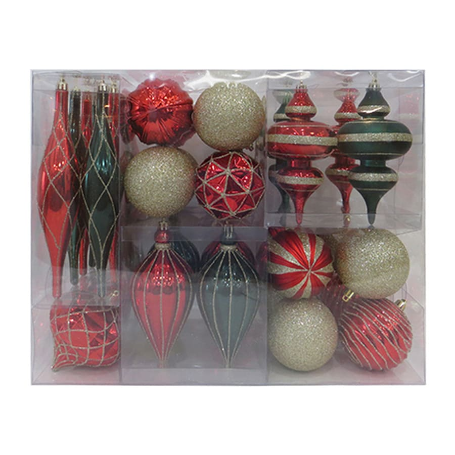 Holiday Living 34-Pack Red, Green, Gold, Glitter, Matte, Shiny Ornament Set