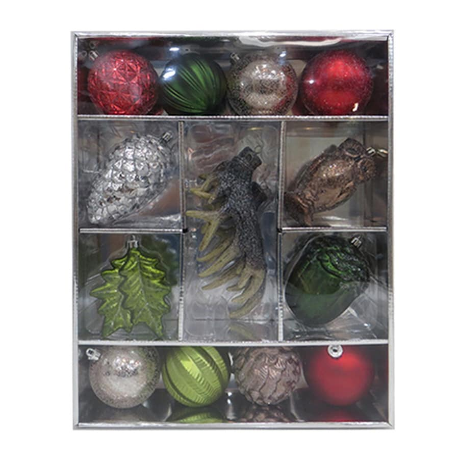 Holiday Living 15-Pack Silver, Green, Red, Brown, Champagne, Glitter Ornament Set