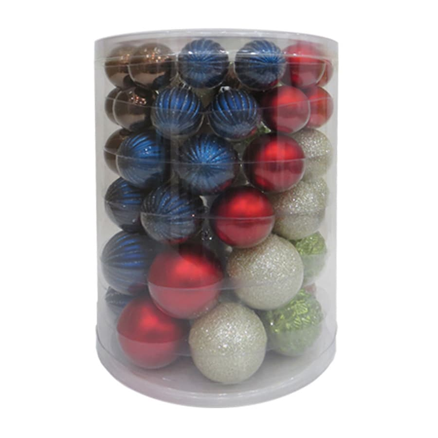 Holiday Living 60-Pack Red, White, Silver, Green, Gold, Champagne, Teal Ball Ornament Set