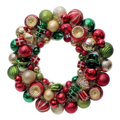 Gold Christmas Wreath.20 In Red Green Gold Light Green Champagne Glitter Shiny Matte Ornament Artificial Christmas Wreath