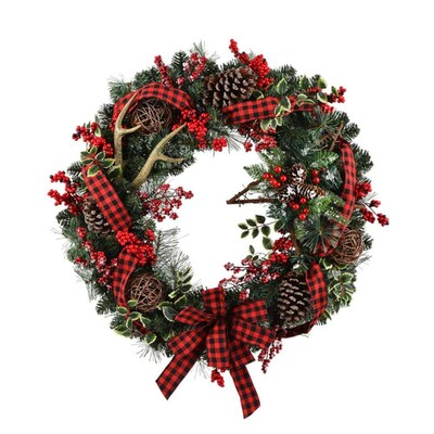 low priced c69b3 d36a7 30-in Pre-Lit Battery-Operated Vine Artificial Christmas Wreath with White  Warm LED Lights