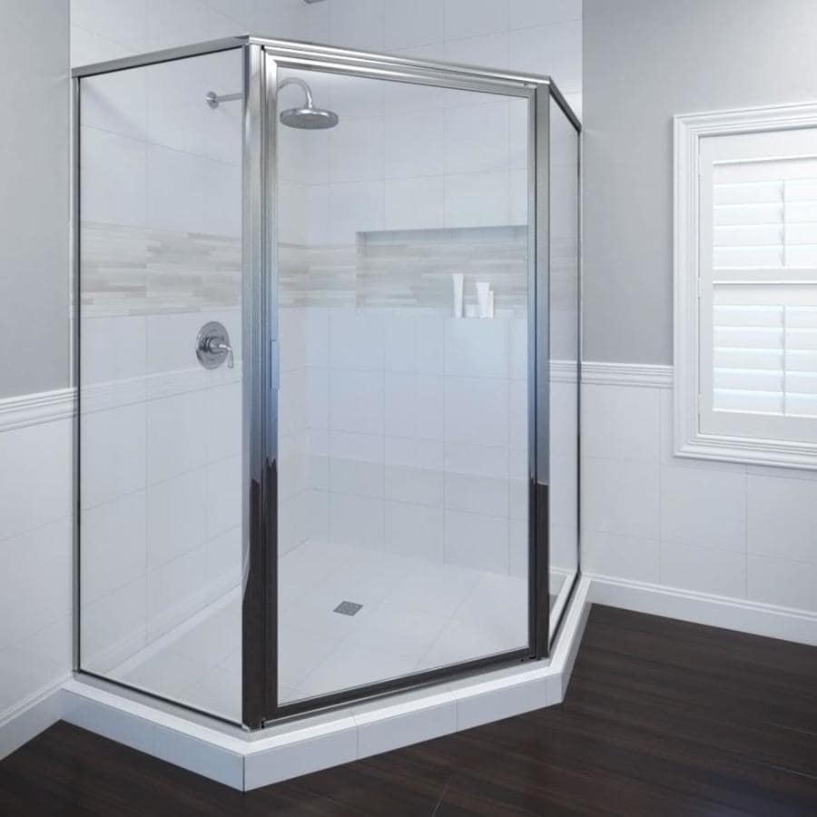 shop basco framed silver shower door at lowes com