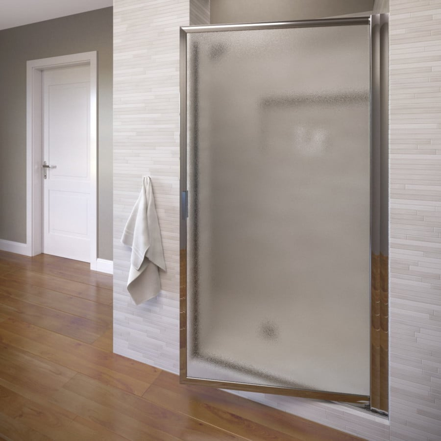 Basco Deluxe 24.75-in to 26.5-in Framed Silver Pivot Shower Door