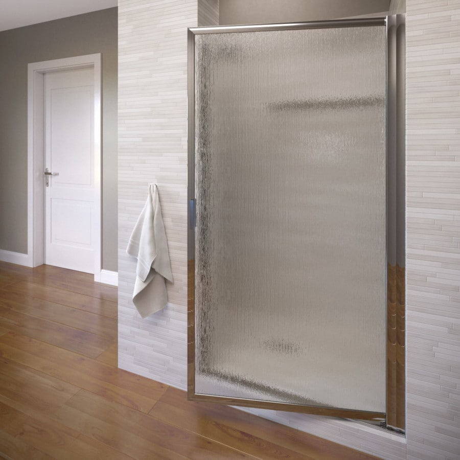 Basco Deluxe 33.125-in to 34.875-in Framed Silver Pivot Shower Door