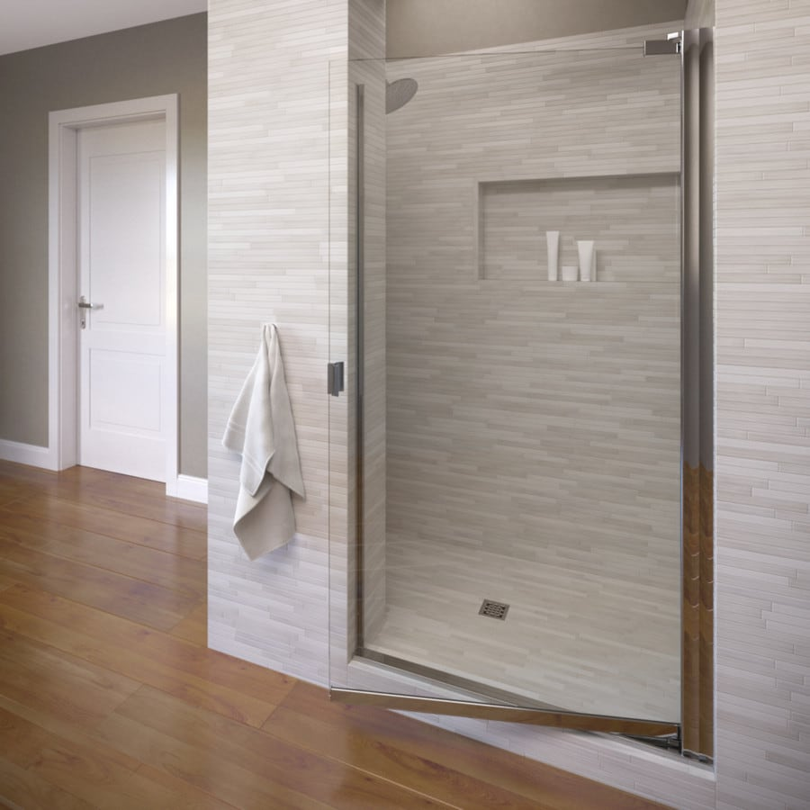 Basco Classic 28.625-in to 30.125-in Frameless Silver Pivot Shower Door