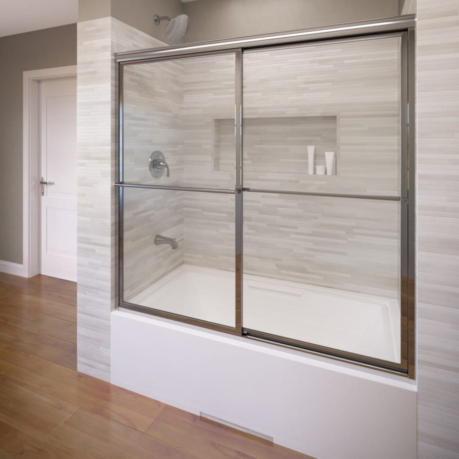 Basco Deluxe 56-in W x 56-in H Silver Bathtub Door
