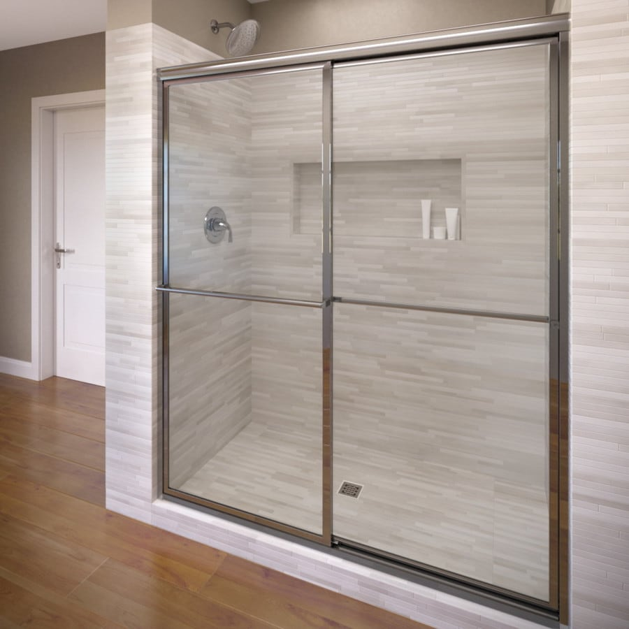 Basco Deluxe 49-in to 51.375-in W Framed Silver Sliding Shower Door