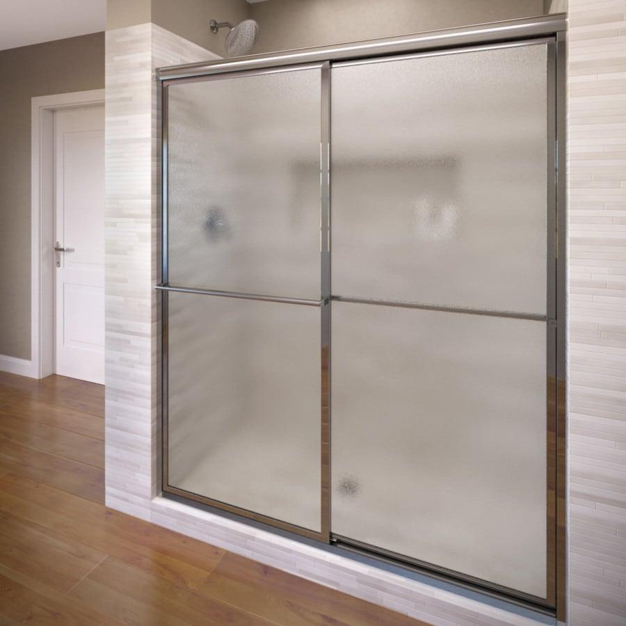 Basco Deluxe 44-in to 45.75-in W x 71.5-in H Silver Sliding Shower Door