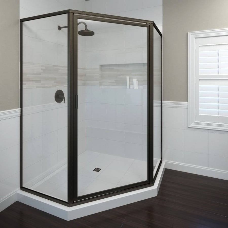 Basco deluxe 61 25 in w oil rubbed bronze hinged shower door