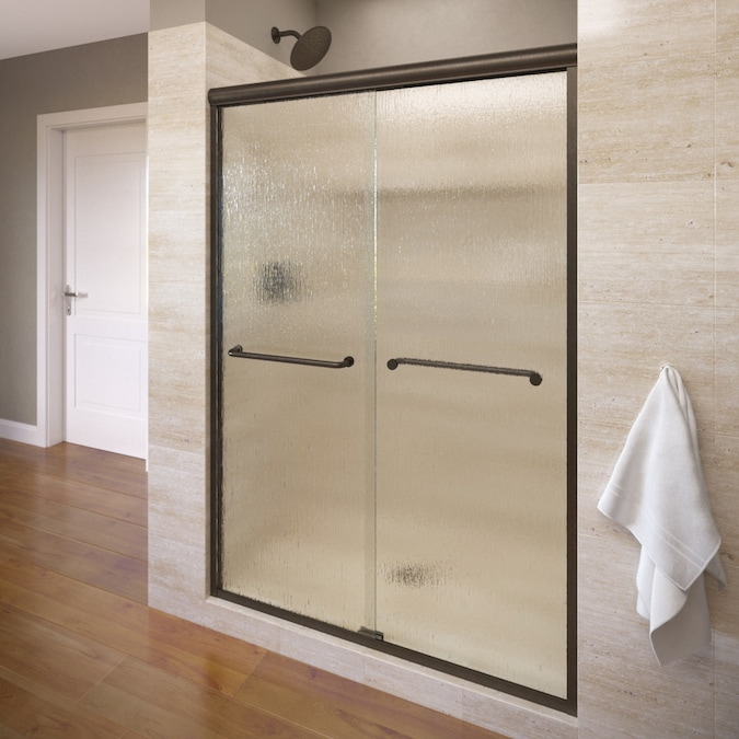 Basco Infinity 70 In H X 54 5 In To 58 5 In W Semi Frameless Sliding Oil Rubbed Bronze Shower Door Frosted Patterned Glass In The Shower Doors Department At Lowes Com