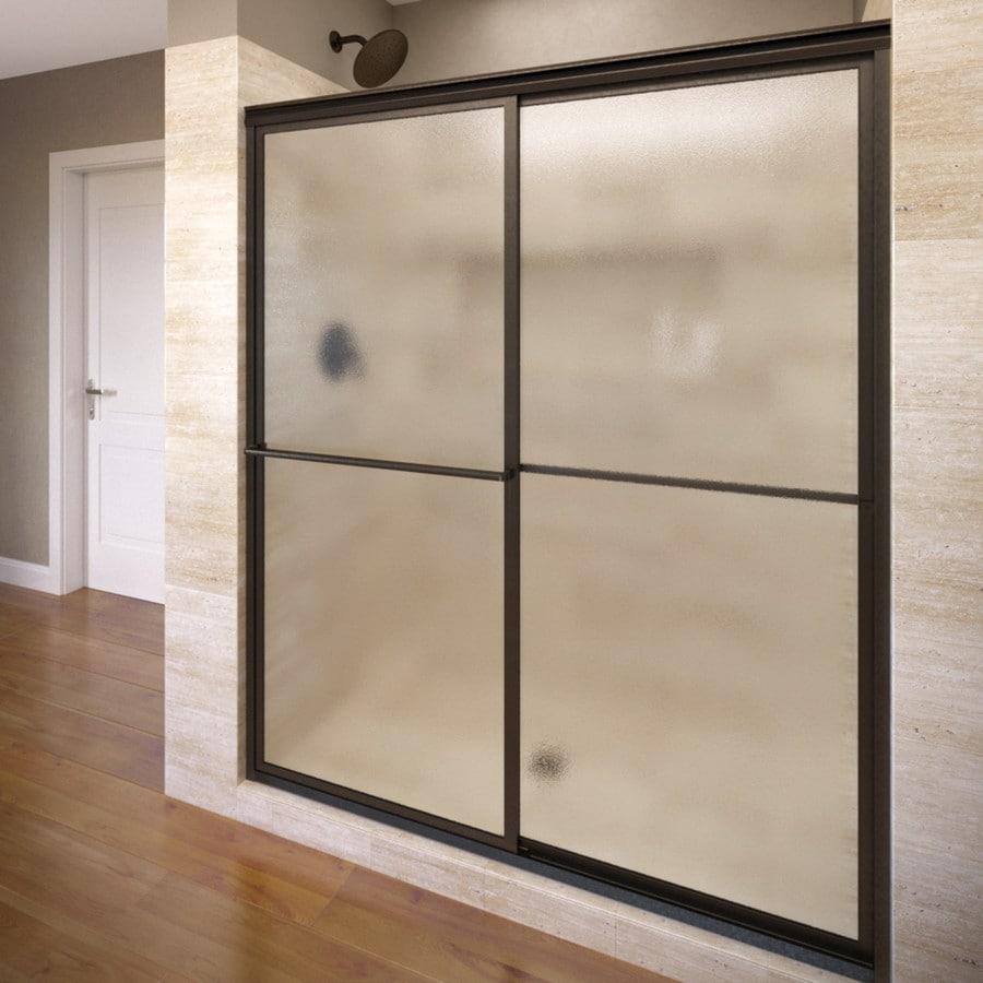 Basco Deluxe 44-in to 45.75-in W x 71.5-in H Oil-Rubbed Bronze Sliding Shower Door