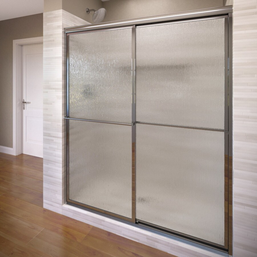 Basco Deluxe 44-in to 45.75-in W Framed Silver Sliding Shower Door