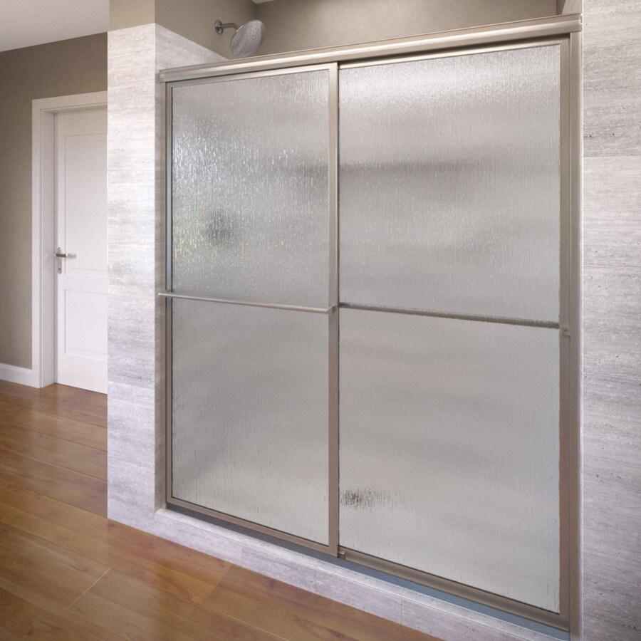 Basco Deluxe 44-in to 45.75-in W Framed Brushed Nickel Sliding Shower Door