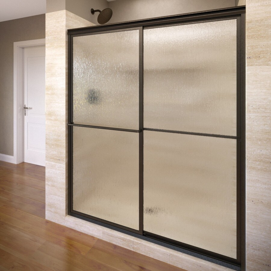 Basco Deluxe 42-in to 44-in W x 68-in H Oil-Rubbed Bronze Sliding Shower Door