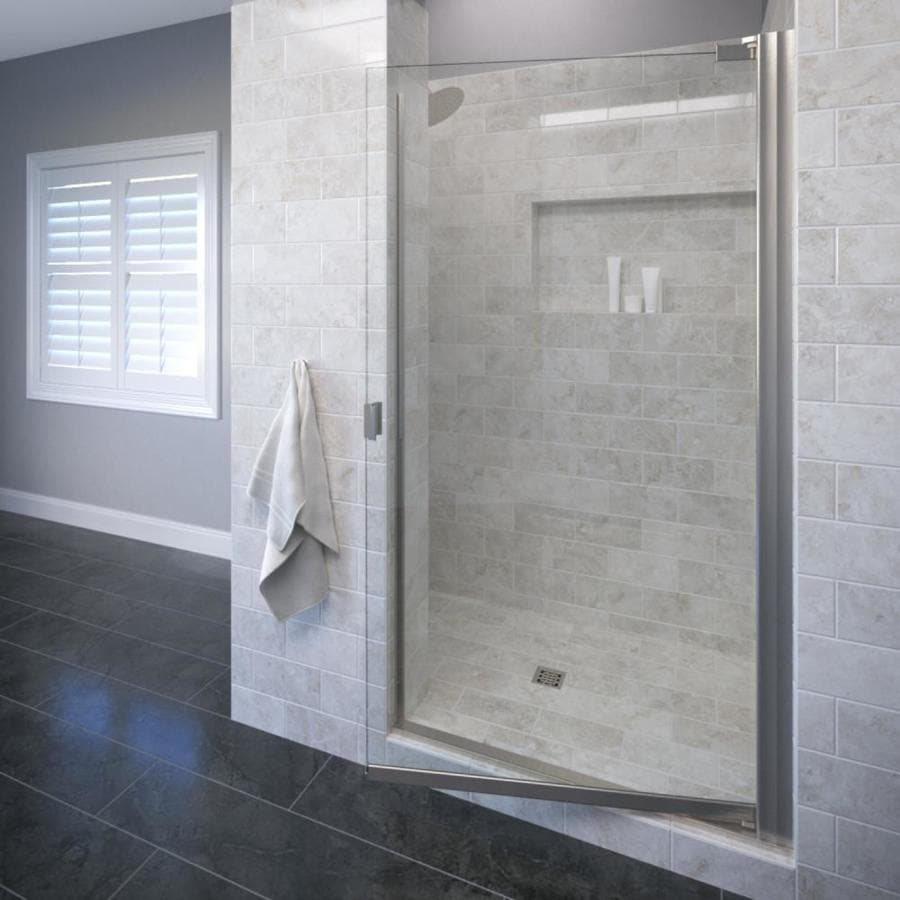 Basco Classic 26.625-in to 28.125-in Frameless Brushed Nickel Pivot Shower Door