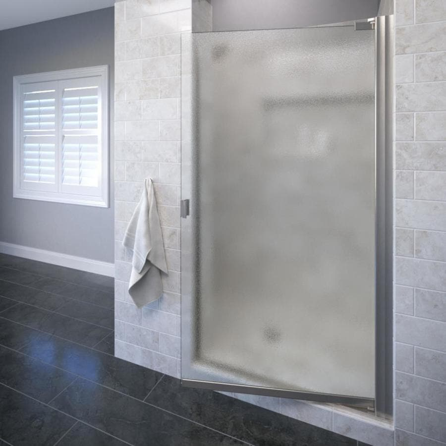 Basco Classic 26.625-in to 25.125-in Frameless Brushed Nickel Pivot Shower Door