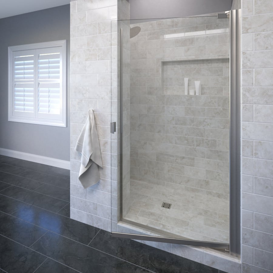 Basco Classic 28.625-in to 30.125-in Brushed Nickel Frameless Pivot Shower Door